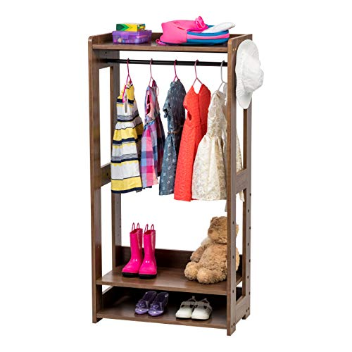IRIS USA Kids Clothing Garment Rack Dark Brown