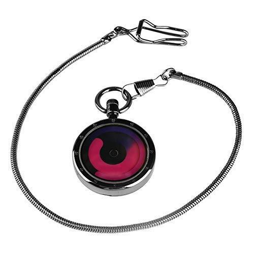 MingXinJia Home Nachttische Vintage Taschenuhr, Kleine Digitale Lila Plattenspieler Quarz Taschenuhr Silber Schlangenkette Minimalismus Muster Uhr