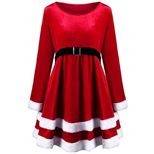 VICGREY ❤ Vestito Donna Natale Rosso Velluto Lungo Manicotto Vestiti Donne Santa Festa di Natale Abito Elegante Cocktail Vestiti