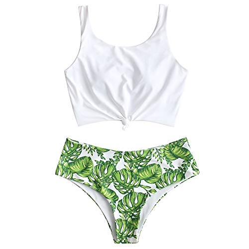 ZAFUL Zweiteiliger verknotet Tankini Beachwear Set, einfarbiger gepolsterter Badeanzug mit Schulterträger & Badehose mit Tropisches Blattmuster für Damen (Multi-B, S)