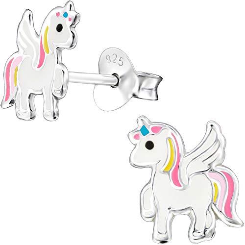 JAYARE Pendientes niña unicornio Pegasus plata de ley 925 rosa-rosa niños pendientes