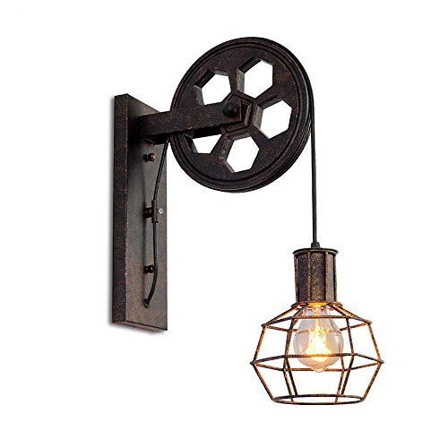 iDEGU Vintage Lámpara de Pared Industrial Aplique de Pared Estilo de Polea...