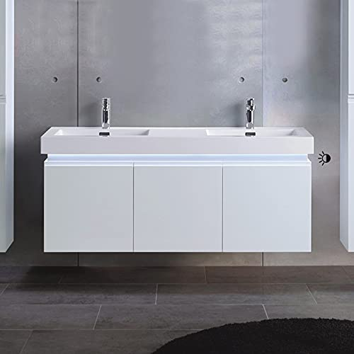 DECORAPORT 54 in.Wall Mount Bathroom Vanity Cabinet with LED Light,2 Integrated Synthetic Stone Sinks with Contrast Overflow,Combine Drawers(D-ML1380-V)