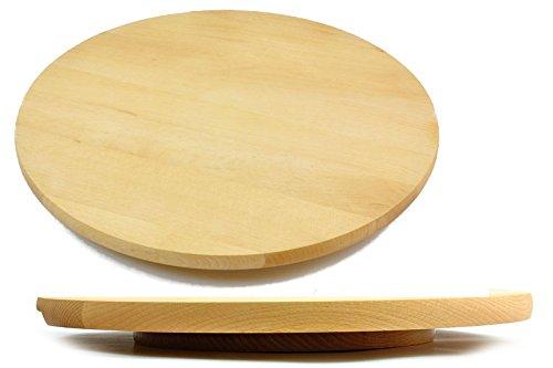 Plateau circulaire pivotant en bois - Pour servir gâteau ou pizza - 35 cm