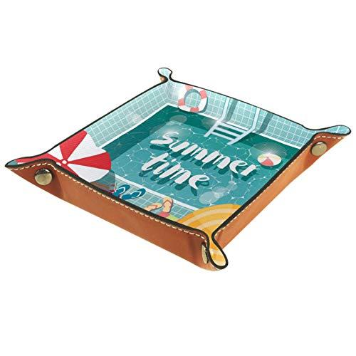 YATELI Kleine Aufbewahrungsbox,Herren-Valet-Tablett,Schwimmbad Sommerzeit,Leder Catchall Organizer für Coin Box Key Schmuck