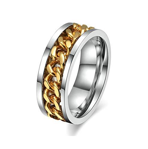 Adisaer Titanring Herren Herren Ringe Edelstahl (Mit Gratis Gravur) Kette Form Ehering Silber Gold Größe 57 (18.1) Kostenlos Gravur