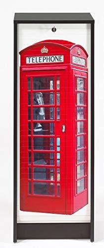 SIMMOB Classeur à Rideau Noir Hauteur 104 cm Londres, Bois