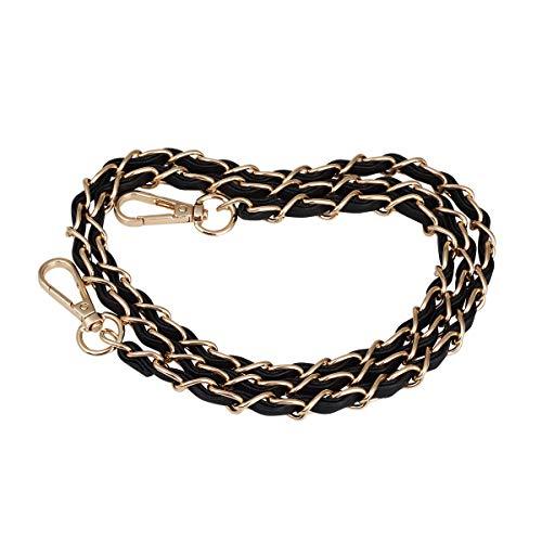 Jakago, cinghia a catena da 124,5 cm con pelle nera di ricambio per borsa da sera, borsa a tracolla, borsa a tracolla, borsetta fai da te Black Gold