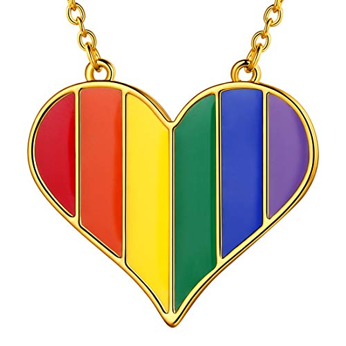 beautlace LGBT Necklaces 18K Gold Plated Rainbow Love Heart Pendant Gay Lesbian Pride Jewelry for Men and Women KP0067Y