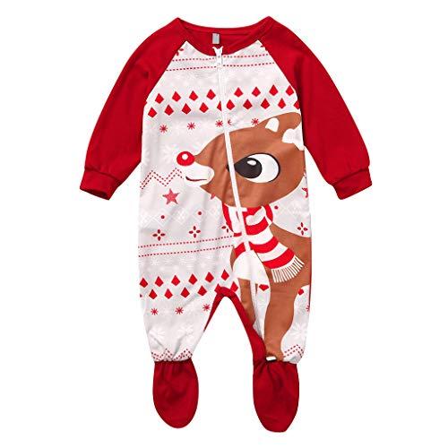 Fossen Kids - Pijamas Mono Casero de Recién Nacido Bebé Navidad Impresión de Ciervo