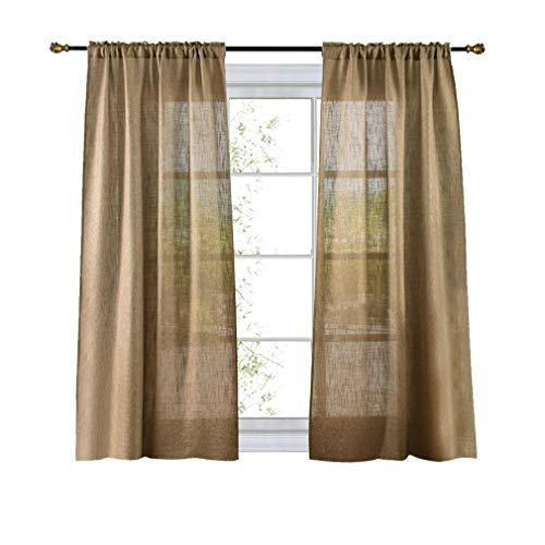 Valea Home Soft Burlap Look Natural Tan Rod Pocket Semi Sheer Window Curtain Panel for Living Room 63 inches Long, 1 Panel