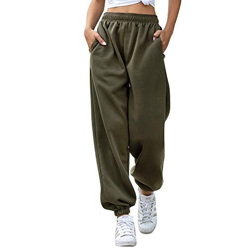 Nuofengkudu Femme Molleton Chaud Sarouel Jogging Pantalon Uni Ample avec Poches Elastique Taille Haute Baggy Fitness Tracksuit Bottoms Sport Harem Pants Casual Hiver(Fente-Vert,M)