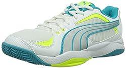 PUMA women's Ballesta WN's indoor shoes, white (White-Silver metallic-Scuba Blue-Fluro Yellow 04), 41 EU
