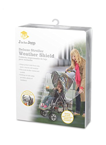 Jeep J90106 Rain Cover for Pushchair with Pouch Jeep Accommodates most stroller makes and models Helps protect child from rain, snow, wind and cold weather Netting on both sides, with snap closures, provides plenty of ventilation 4