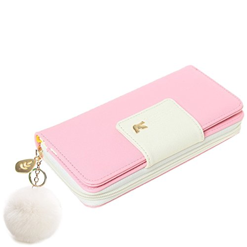 Wallet-NEWANIMA Women Lady Multi-card Two Fold Long Zipper Clutch Purse Handbag With Keychain (Pink)