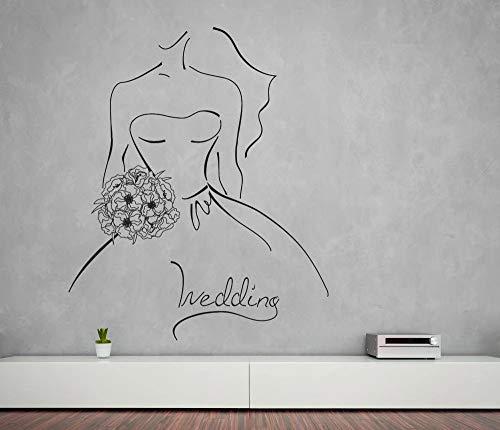 JXFM Wandbild Vinyl Aufkleber Wandaufkleber Hochzeit Umriss Skizze Braut und Blumenstrauß Hochzeit Zimmer Wanddekoration Aufkleber42x50cm