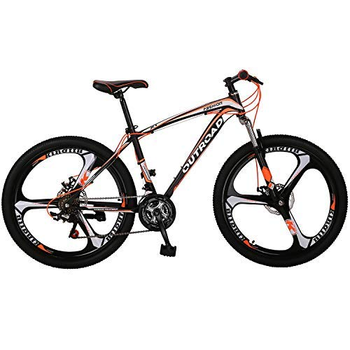 PanAme Mountain Bike 26 Inches Outroad 21 Speed Suspension Fork Anti-Slip Bicycle with Dual Disc Brake and High Carbon Steel Frame for Men and Women, Orange