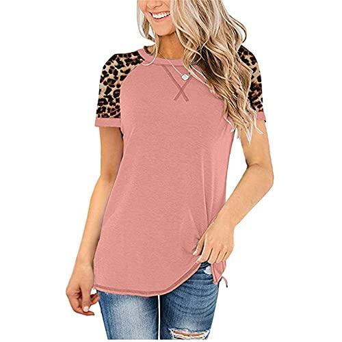 Blusa Mujer Manga Corta Verano Cuello Redondo Cuello Cruzado Empalme Leopardo Mujer Top Casual Personalidad De Moda Clásica Diseño Exquisito Elasticidad Colocación Mujer T-Shirt F-Pink L