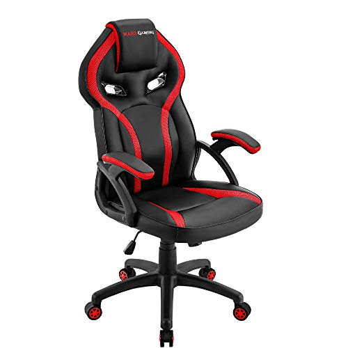 MARSGAMING MGC118 Silla Gaming Ergonómica en PU y Nylon, Regulable, Rojo, Large
