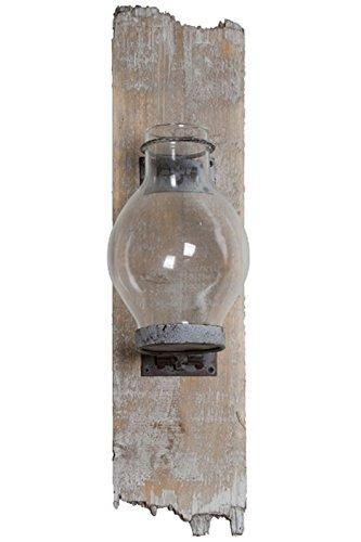 elbmöbel Wandkerzenhalter Glas Holz Kerzenhalter Windlicht (H43xB10xT13)