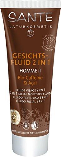 SANTE Naturkosmetik Homme II Gesichtsfluid Bio-Caffeine & Açai, Zieht schnell ein, Leichte & beruhigende Rezeptur, Vegan, 50ml