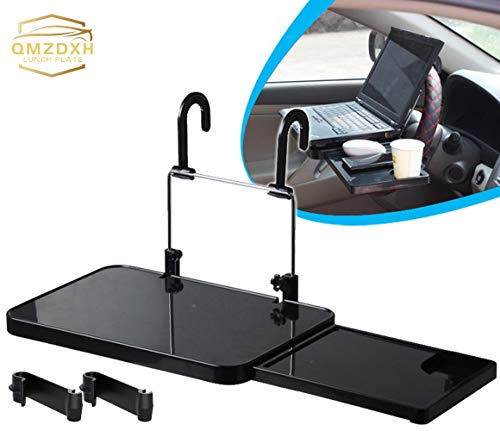 QMZDXH Steering Wheel Desk for Laptop, Multi-Functional Car Vehicle Seat Portable Foldable Car Seat Back Pc Mount Tray Car Dining Food Drink Desk Cup Holder