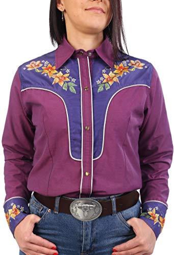 Last Rebels Country Line Dance - Camisa para mujer, diseño de flores, color fucsia morado X-Large