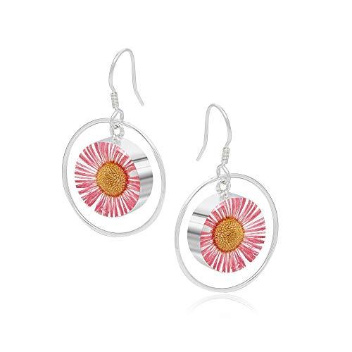 Dangle drop daisy earrings by Shrieking Violet. Sterling silver hoop drop earrings handmade with pressed pink daisies. Perfect girly gift