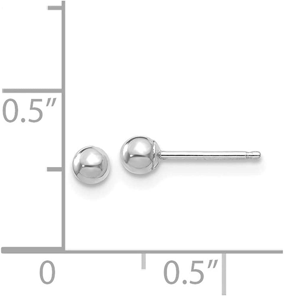 Finejewelers 14 kt White Gold Polished Ball Post Earrings 3 mm x 3 mm