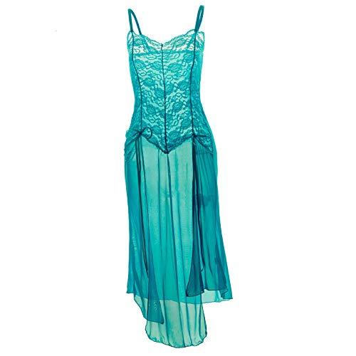 Pijamas para Mujer Disfraces Eróticos Sexy Vestido Mujer Lencería Larga De Encaje Transparente Ropa De Talla Grande-Cielo Azul_50