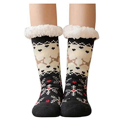 Calcetines navideños para mujeres y niñas, cálidos, de forro polar grueso y esponjoso, con bonitos patrones de Navidad, regalo de calcetín, B-azul marino, talla única