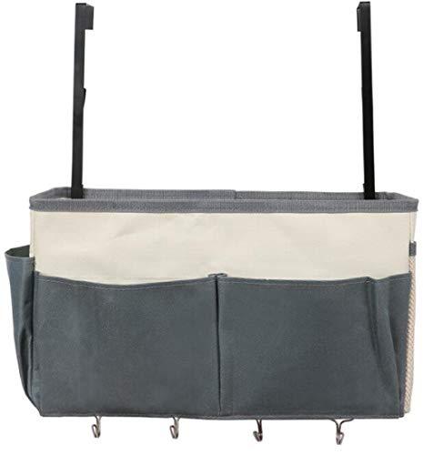 Bolsillos de cama con 4 ganchos, bolsa de noche para organizador suspendido, portaobjetos de cama, prácticos accesorios para el hogar, la oficina, el dormitorio, la litera, regulable en altura (gris)