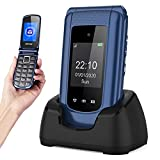 Uleway Flip Phone Sim Free Unlocked GSM Big Button Mobile Phone Pay As You Go Basic Cell Phones with Dual Display Easy to Use for Seniors and Kids (2G,Blue)