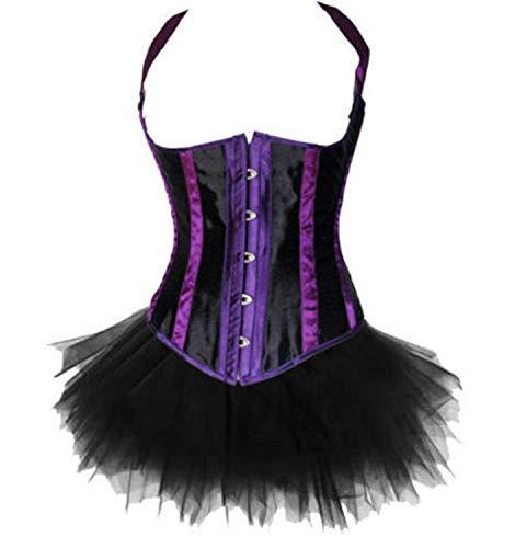 Damen Korsagen Kleid Lila Brust Bustier Neckholder Corsage Mit Mini Rock Vintage Elegante Steampunk Gothic Bauch Weg Figurformend Korsett Shapewear (Color : Colour, Size : 3XL)