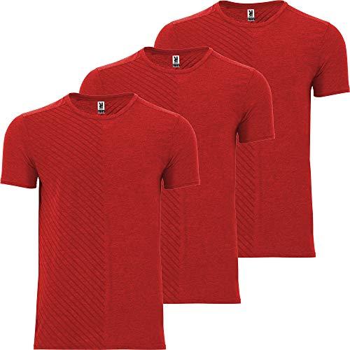 Camiseta Deporte Hombre | Pack 3 | Tejido técnico | Transpirable (Running, Crossfit, Fitness) Manga Corta | Modelo 2020 (Rojo, XXL)