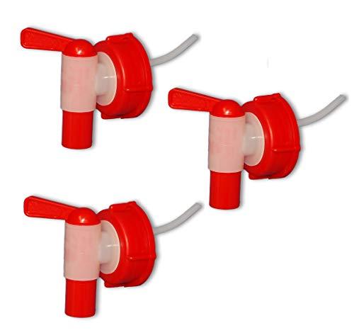 Wilai Lote de 3 Grifos aeroflow para bidón con Apertura DIN 51, HDPE Calidad alimentaria (3x22011)