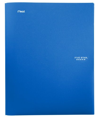 "Five Star 2-Pocket Folder, Stay-Put Folder, Plastic Colored Folders with Pockets & Prong Fasteners for 3-Ring Binders, For Home School Supplies & Home Office, 11"" x 8-1/2"", Blue (72115)"