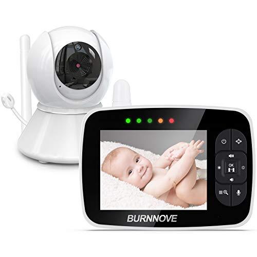 Babyphone mit kamera 3.5 Zoll Babyphone Baby Monitor mit ferngesteuerter Pan-Tilt Kamera 2x Digitalzoom 355°/120°Schwenkbar ECO-Modus Nachtsicht Rückgespräch Temperaturprüfung Schlaflieder