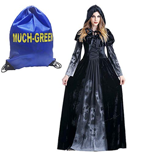 Much-Green Bruja Disfraz Vampiresa de Mujer Halloween,Vestido de Calavera Vampira para Disfraces Fiesta(Negro,XL)