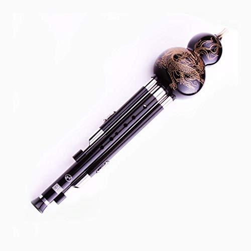Erhu Instrumento musical popular chino de viento de madera C down B Tone Playing Beginner Full Black Sandalwood Cucurbit hecho a mano Seda Regalo Cucurbit Flautas (Color: B Flat),Piso B