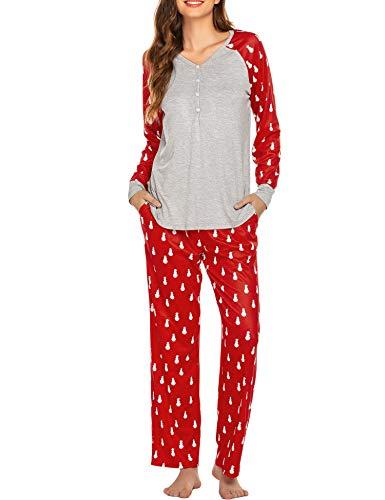Ekouaer Christmas Pajamas for Women - Christmas PJs Women, Novelty Prints