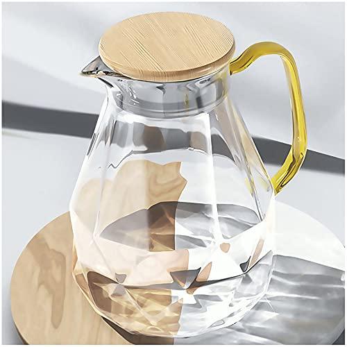 DUJUST Glaskaraffe mit Deckel 2 Liter, Wasserkrug im Modernen Diamant Design, Glaskrug mit Griff für Fruchteinsatz, Glaskanne Hitzebeständig Pitcher für Eistee/Milch/Kaffee