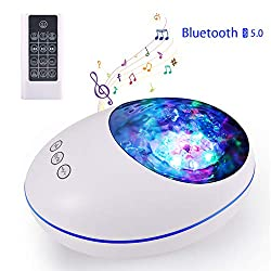 Delicacy Ocean Wave Projector 12 LED Remote Control Bluetooth Undersea Projector Lamp,8 Color Changing Music Player Night Light Projector for Kids Adults Bedroom Living Room Decoration