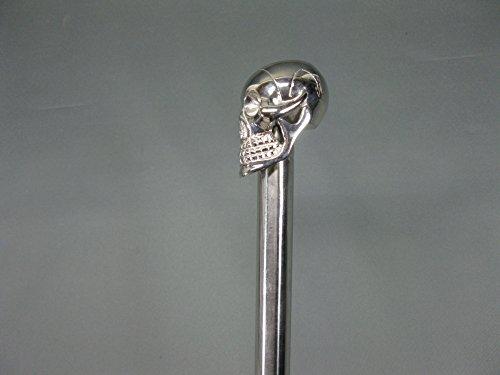 Canne de marche en acier inoxydable 91 cm Tête de mort avec poignée en métal