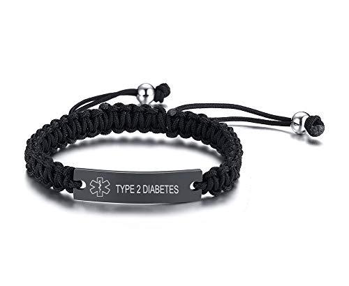 VNOX Type 2 Diabetes Handmade Braided Rope Adjustable Medical Alert ID Bracelet Fits Adults & Kids