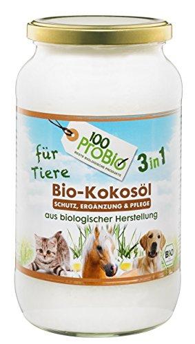 100ProBio Kokosöl für Tiere - 3 in 1 - Pflege und Ergänzung, 1er Pack (1 X 1000ml)