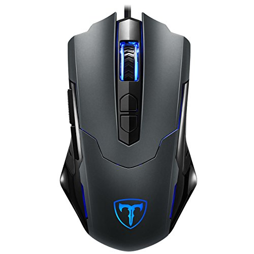 Holife Gaming Maus, Gamer 7200DPI PC Gaming Maus Hohe Pr?zision für Pro Gamer mit 7 programmierbaren Tasten/LED/ergonomisches Design/USB-Wired Maus optisch (Grau) 20191112MYDE01Jul klein