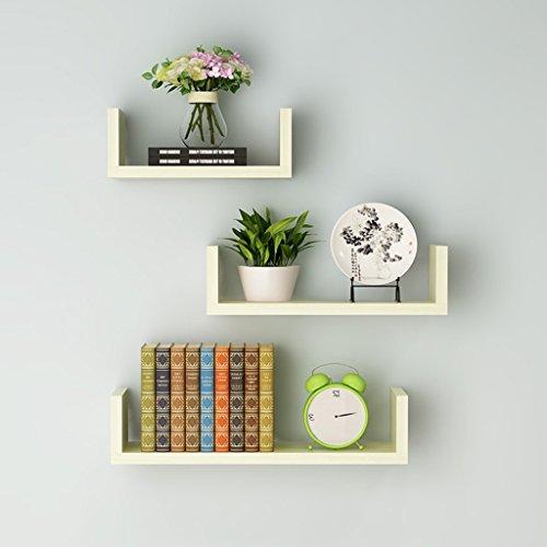 Floating U Set de 3 étagères murales - Etagères en bois Etagère murale décorative pour la chambre à coucher, le salon, la salle de bain, la cuisine, le bureau, etc. (Couleur : White maple)