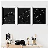 DLFALG Resumen F1 Race Car Circuit Layout Track Map Póster e impresión Arte de la pared Pintura en lienzo Imagen Sala de estar Decoración para el hogar-40x60cmx3 Sin marco