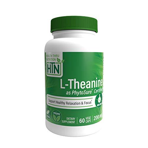 Health Thru Nutrition L-Theanine 200Mg 60 ベジタリアン カプセル GMOなし(Phytosure 認定)